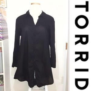 Torrid | Black Buttondown Tunic Top